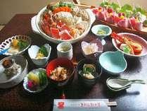 お料理一例(お鍋と舟盛りは4人前)