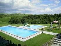 夏季限定、ご宿泊様専用屋外プール高原のプールを満喫しよう♪すべり台もあり、お子様に大人気☆