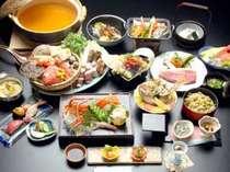 *【月之瀬膳一例】新鮮な海の幸や福島牛のサーロイン、山の恵みのお野菜など15品☆豪華な内容です!