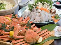 【蟹ふぐ会席】姿蟹1杯と若狭ふぐのてっちり鍋が一度に味わえる♪