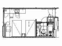 スタンダード・ツイン【22~25平米,BED:110×195】
