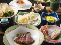 【和洋折衷会席】お肉もお造りも天ぷらも食べたい方におすすめ!ビューサンセットの基本会席です