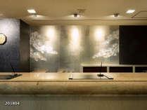 フロントカウンター壁紙は高松の松イメージ