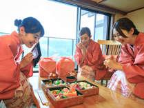 *【部屋食(一例)】旬の食材がたっぷりの重箱御膳を、お部屋でお召し上がりください