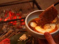 【焼きしゃぶ】会津牛を炭火で焼き、温泉卵とからませて♪