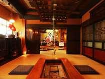 芦名のお食事は、用途に合わせて7つの囲炉裏で。
