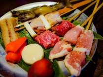 美味!串の炭火焼コース♪普段体験できないいろり焼をしながらのんびりお食事☆