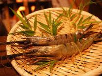 「美味!串の炭火焼」コースのエビ。丸々と太った食べ応え満載のエビをどうぞ!