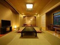 露天風呂付き客室せきれい(桧の半露天風呂がついた寛ぎの客室です)
