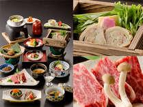 春のお肉三種プラン・・・牛ロースの陶板焼きの他、豚肉、鶏肉を取り入れた会席料理です。