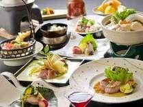 <秋冬版>お肉三種会席。仔牛のステーキ、鶏の水炊き・炭火焼ほか。