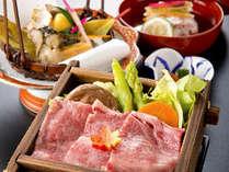 ●お肉三種会席●料理長が厳選した<牛・豚・鶏>の3種のお肉をこの季節にぴったりの料理に仕上げました。