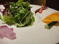 朝摘みのミネラルたっぷりの「鎌倉野菜のサラダ」は自家製の特製オイルソースで。