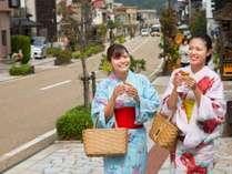 色浴衣でゆげ街道の街歩き♪コロッケや温泉卵、ソフトクリームなどが楽しめる☆