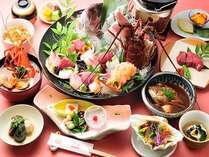 伊勢えびと鯛のお造り、伊勢えびブイヤベース、牛ヒレステーキをメインとした和食会席