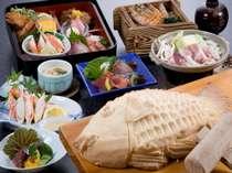 「地魚かまくら」は2人盛り。その他のお料理は1人盛り。左上のお弁当箱がお子様定食。
