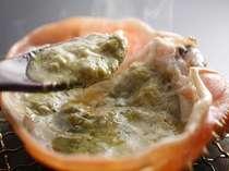 活ブランドガニの刺身につくカニみそは、一度、生食の後、甲羅焼きに出来ます。