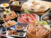 料理イメージ。名物「かにかまくら」は4名様までで1枚。カニしゃぶ鍋及び但馬牛しゃぶ肉は2人前。