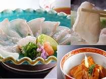 【夕食】幻の魚クエの薄造り・煮付け・小鍋