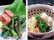 山菜料理一例・季節の炊き合わせ