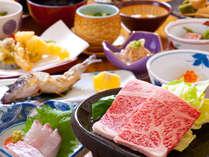 【ご夕食一例】素材の美味しさが生かされたお料理の数々!さりげない彩りに和みます!