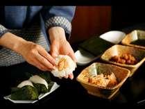 朝食メニュー(一例) 北海道産のお米を使用した「おにぎり実演」