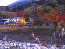 【外観】秋の温宿かじか。美しい高瀬渓谷の紅葉に目を奪われます。