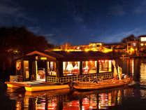 ◆200年の伝統を誇る屋形船の上から夜の三隈川に映る灯りと広がる静寂に癒しのひと時を◆