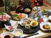 ある日の夕食 お肉料理・陶ばん焼き小鉢類等