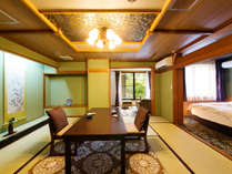 【桃山庵 侘助の間】安土桃山庭園が眺められる椅子テーブルの数寄屋造りの和洋室です