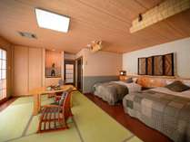 天然温泉付客室「満天の星」の客室は和モダン