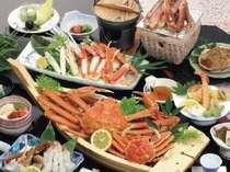 露天風呂付客室でカニ料理が食べたいじゃプラン■焼き蟹・カニ刺し・面付茹でズワイガニ等のカニづくし