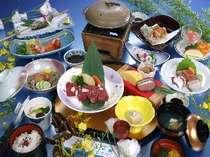 山女魚の塩焼き、寄せ鍋など