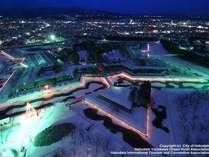 2月28日まで、五稜郭がライトアップされます。五稜郭タワーからの眺めは圧巻です。