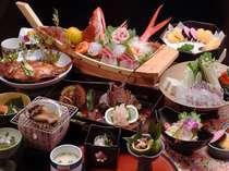 伊勢海老、アワビなど海の幸満載のお料理(一例)