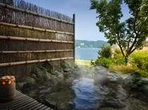 ■貸切露天風呂:毘沙子-MISAGO-■ 港を行きかう船、さざ波を眺めてのんびりと♪