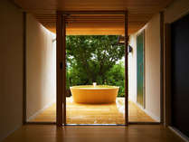 """■貸切露天風呂:洞-uro-■ 四方を壁と緑に囲まれた""""上質の貸切空間""""はあなただけのもの♪"""
