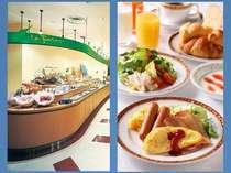 朝食会場と朝食メニュー