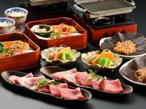 【夕食】飛騨牛と国産豚の朴葉味噌焼(イメージ)