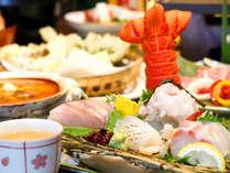 【彩会席】伊勢海老、あわび、金目鯛の3大グルメに、近海の魚のお造りなどお愉しみください。