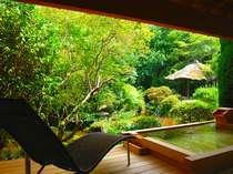 4人ほど入れる大きな露天風呂が付いた特別室「館山荘・楓の間(かえでのま)」は限定1室