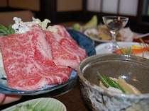 飛騨牛しゃぶしゃぶ付きの夕食一例