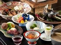飛騨牛メインに、川魚や山菜など、山の味覚を楽しむ飛騨四季膳(一例)