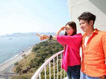 洋室ツインルームから。すごい良い景色☆あれって佐多岬であっちは屋久島だって!