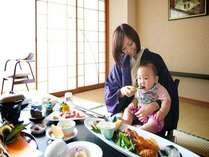 お部屋食はお子様がいてもママが安心してお食事。お子様用の食事もございます。