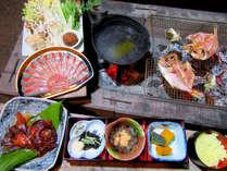 『金目鯛のしゃぶしゃぶ』と『金目鯛ひもの、サザエの炭火焼きBBQ』プランのご夕食です。