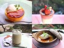 【白石家特製デザート】オレンジブリュレ、苺ブリュレ、たましらプリン、豆乳杏仁ブリュレ