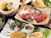 *お夕食「焼津づくし」 カツオ、マグロ、桜えび、しらず等、焼津のし旬の食材がいっぱい!