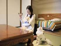 【人気の和洋室ツインベッド】愛犬と一緒に愉しめる