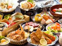【夕食一例<おまかせプラン>】標津港で水揚げされたその時の旬の味わいを楽しめます。